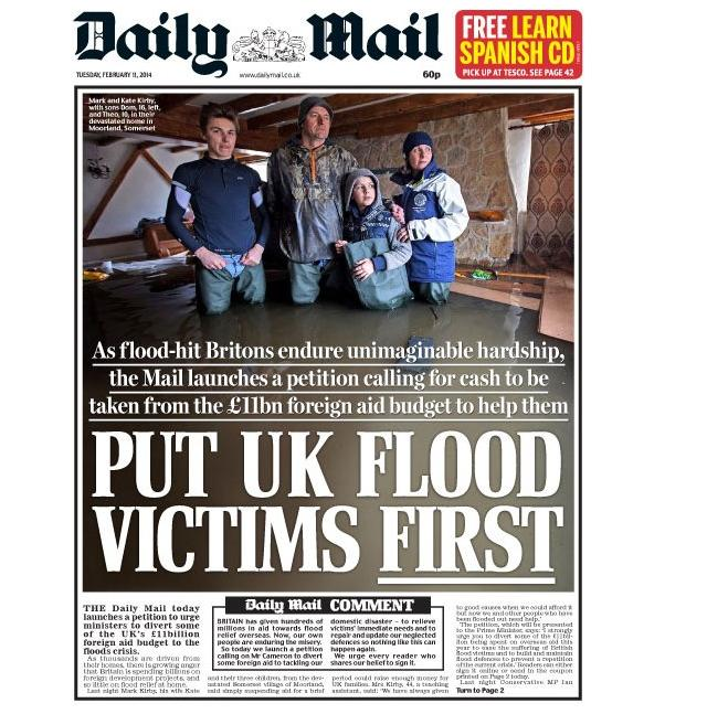 Flood victims D Mail cover