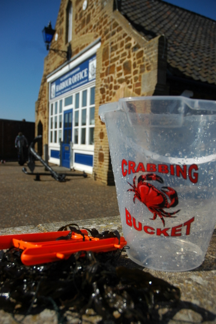wells harbour office and rescued crab bucket and creel